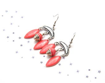 Earrings Bohemian Gypsy sequined enamel glass bead spun coral