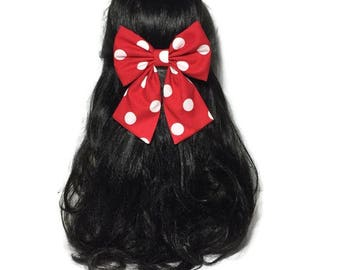Red Polkadots Hair Bow, Big Bow, Fabric Bow, Cosplay Bow, Minnie Mouse Bow, Cheer Bow, Kawaii Bow, Hand Made Bow, Large Hair Bow, LwT076