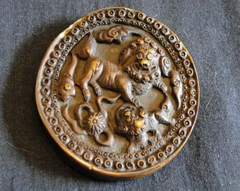 Beautiful Vintage Carved Stone Pendant, FREE USA Shipping, Detailed Oriental Lions & Flowers, Collectible Asian Jewelry, Necklace