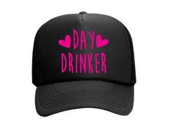 Day Drinker Custom Vinyl Black Foam Trucker Mesh Back Hat Snapback