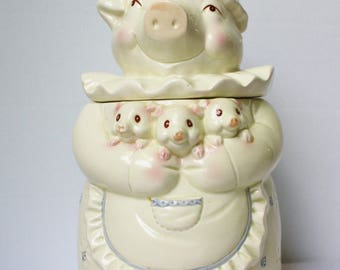 Vintage 50s Pig Cookie Jar Mama Pig With 3 Piglets Rare Taiwan R.O.C. White Blue 50s Gift For Her Mother's Day Gift Farmhouse Cabin Decor