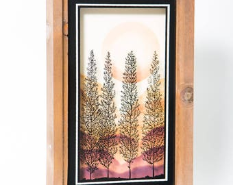 Sunset Sunrise Trees Shadow Box 1970s Painted Glass Wall Art Lulu's Orem Utah 1977