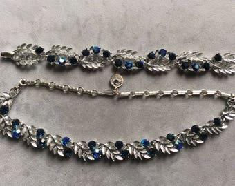 Vintage 1960's LISNER Montana Blue Rhinestone Necklace Bracelet Set