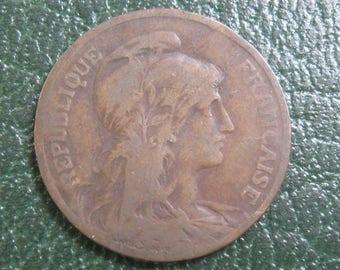 VICTORIAN Antique 1899 Republique Francaise 5 Centimes Modern Republique Bronze Circulated Vintage France French Coin Currency Daniel-Dupuis