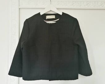 Black short jacket, cotton tweed jacket, black formal jacket, three quarter sleeve jacket, unlined jacket