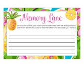 Digital Printable Memory Lane Game for Bridal Showers or Bachelorette Party with Tropical Pineapple CGML003