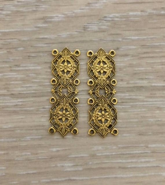 Gold connectors antique stamping filigree connector