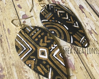 Mudcloth Ethnic Earrings, Handpainted Tribal Jewelry, Black White Gold Dangle Earrings