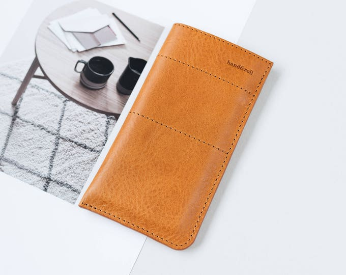 "Leather Phone Case for Samsung Galaxy S8, Samsung Galaxy S8+, in tan, chestnut, black ""Slick"", by band&roll"