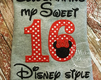Disney-Inspired Birthday Shirt - Sweet 16 - Custom Birthday Tee 802c