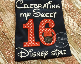 Disney-Inspired Birthday Shirt - Sweet 16 - Custom Birthday Tee 802c navy