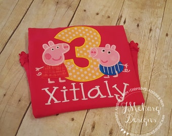 Peppa & George Pig Birthday - Embroidered Birthday Shirt - Customizable -  Infant to Youth 148 red