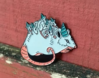Possum Party - enamel pin -lapel pin - 1.5 inch enamel pin- opossum - baby possum - party hat