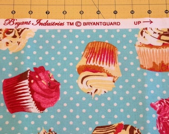 """Fabric Heavy Cotton Print Cupcakes on Teal Background Length 72"""" x Width 44"""""""