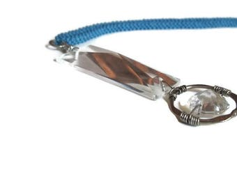 Light Denim Blue Bead Stitched Rope Necklace with Wire Wrapped Crystal Pendant, Free Shipping in the U.S.!