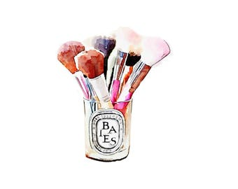 Diptyque Candle DIGITAL ART PRINT Makeup Brush Holder Print from Watercolor Painting Fashion Illustration Poster