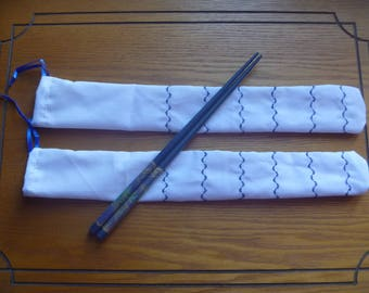 Set of two chopstick bags, 2 fabric chopstick cases