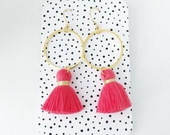 Tassel earrings, red tassel earrings, hoop tassel earrings, statement earrings, tassels