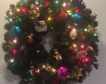 Vintage ornaments wreath with colored lights