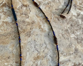 Long Brown & Blue Beaded Necklace
