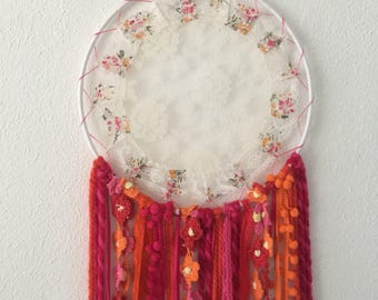 Colorfull dreamcatcher with lace doily