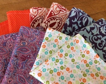 Kids Cloth Napkins School Lunchbox, Set of 5, Retro POP of color, by CHOW with ME