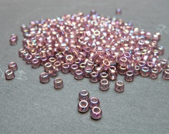 Toho Japanese Glass Round Seed Beads 24 grams 400+ beads, Size 6/0 4mm, Threading hole approx 2mm,  Transparent Rainbow Amethyst