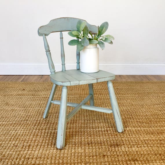 Small Wooden Chair - Playroom Furniture - Small Blue Chair - Kids Room Furniture - Doll Chair - Teddy Bear Chair - Front Porch Decor