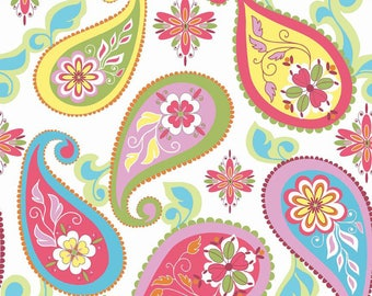 Riley Blake Splendor Fabric, Large Paisley - Pink, Yellow, Aqua, Green, Purple - Cotton Material, Fat Quarter, Half, or By The Yard