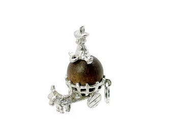 Sterling Silver Lucky Touch Wud Wood Donkey Cart Charm For Bracelets