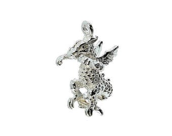 Sterling Silver Scary Dragon Charm For Bracelets