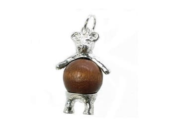 Sterling Silver Lucky Touch Wud Wood Teddy Bear Charm For Bracelets
