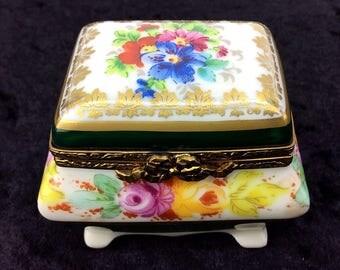 Limoges France Hand Painted Floral China Paint Porcelain Trinket Box