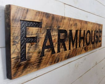 """Farmhouse Sign 48""""x10"""" Horizontal - Carved in a Cypress Board Rustic Farmhouse Style Stained"""