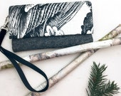 Black and White Clutch Feather Sketch 100% Wool Felt Clutch with Black Velvet Removable Strap
