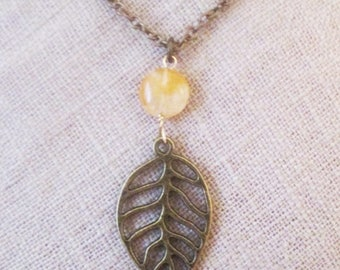 Leaf necklace, brass leaf pendant necklace, boho chic leaf necklace with agate bead stone, bronze brass leaf birthday jewelry necklace gifts