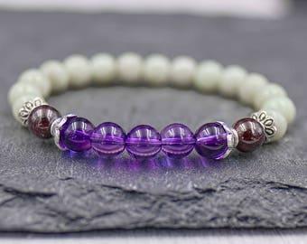 Yoga mala bracelet Bohemian mala bracelet Womens healing bracelet Boho stretch bracelet Meditation beads Fine silver, natural stone bracelet