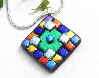 Mixed Colour Dichroic Glass Pendant, Fused Glass Symmetrical Jewellery, Multicolor Art Glass Square Necklace, Bold Geometric Pattern
