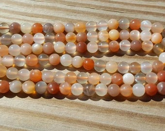 """1-16"""" Strand Genuine Natural Multi Colored Moonstone Hues of Peach & Gray 6mm - 6.5mm Smooth Rounds 63 Beads"""