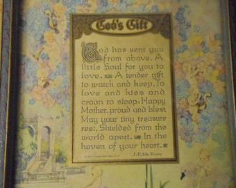 Lovely Vintage Baby Shower Gift Art Deco Framed Poem Beautifully Illustrated Cherubs Flowers Famous Writer J. P. McEvoy 1924 Nursery Decor