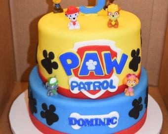 Paw Patrol Badge logo fondant cake topper