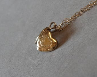Vintage Small Gold Heart Locket Necklace 14K Gold Filled Pendant w Chain Gift for Her Sweetheart Mom Daughter Jewelry Signed PPC