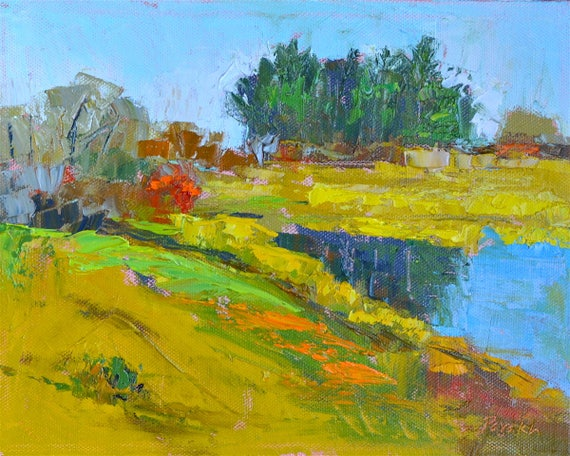"Palette knife Original Oil painting, Small landscape, 8"" X 10"", water reflection, Plum island, Massachusetts, Garima Parakh"