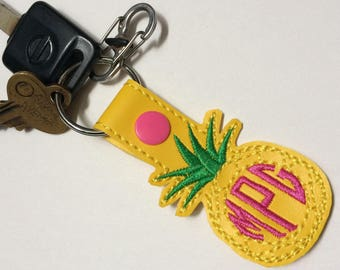 Pineapple monogrammed keychain - vinyl - monogram - summer - pineapple - keyfob - yellow - gifts for her - gifts under 10