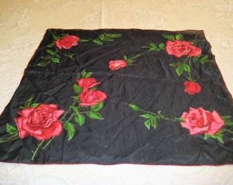 Vintage black silk square neck scarf, red roses, red black floral neck scarf, hand printed, hand rolled