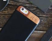 Monogram iPhone 6 Leather Case, iPhone 6/6s Case With Leather, Wood/Leather iPhone 6/6s Case - MONO-LTR-BL-I6