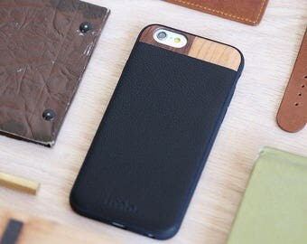 iPhone 6s Case Leather, iPhone 6 Leather Case, Wood iPhone 6/6s Case - LTR-BL-I6