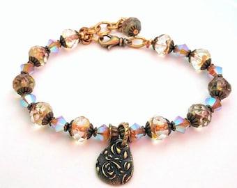 Crystal Bracelet, Beaded Bracelet, Charm Bracelet, Bohemian Jewelry, Summer Bracelet, Layering Bracelet, Floral Bracelet