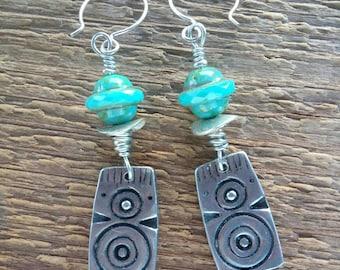 Boho Earrings, Tribal Earrings, Blue Earrings, Dangle Earrings, Beaded Earrings, Silver Earrings, Bohemian Jewelry