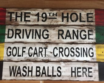 Rustic Wooden Golf Signs-Free Shipping!